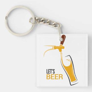 Déjenos cerveza llavero cuadrado acrílico a doble cara
