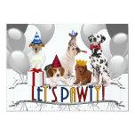 Déjenos los perros de PAWty en la invitación del