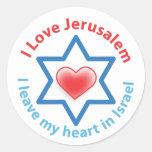 Dejo mi corazón en Israel - amor Jerusalén de I Pegatinas Redondas