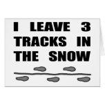 Dejo tres pistas en la nieve tarjeton