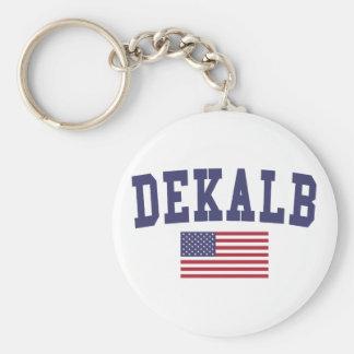 DeKalb US Flag Basic Round Button Keychain