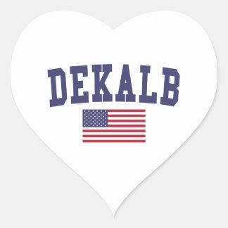 DeKalb US Flag Heart Sticker