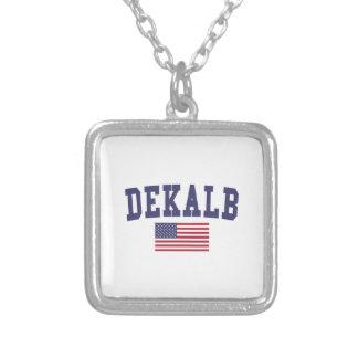 DeKalb US Flag Square Pendant Necklace