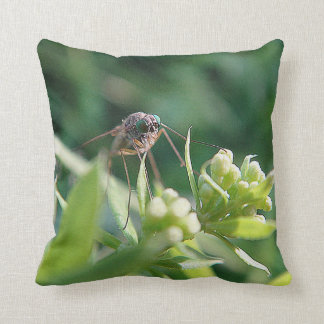 Dekokisse mosquito with eyes in turquoise throw pillow