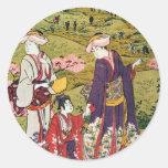 ) del 三 del (del 花見, visión de la flor del 清長 (3), etiquetas redondas