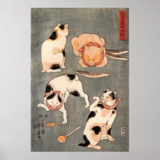 ) del 上 del (del たとえ尽の内, gatos japoneses del 国芳 (1 posters