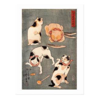 ) del 上 del (del たとえ尽の内, gatos japoneses del 国芳 (1 tarjeta postal