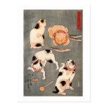 ) del 上 del (del たとえ尽の内, gatos japoneses del 国芳 tarjetas postales