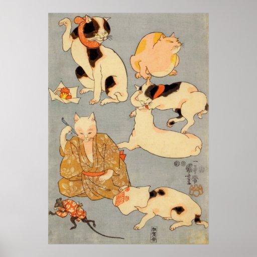 ) del 下 del (del たとえ尽の内, gatos japoneses del 国芳 (3 posters