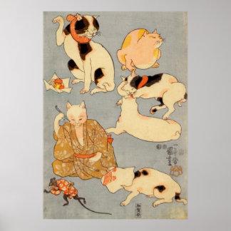 ) del 下 del (del たとえ尽の内, gatos japoneses del 国芳 (3 póster