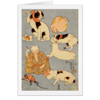 ) del 下 del (del たとえ尽の内, gatos japoneses del 国芳 tarjeta de felicitación