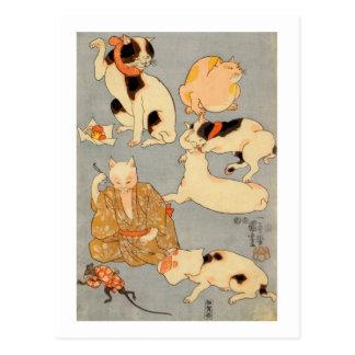 ) del 下 del (del たとえ尽の内, gatos japoneses del 国芳 postal