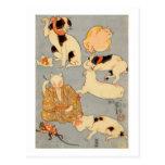 ) del 下 del (del たとえ尽の内, gatos japoneses del 国芳 tarjetas postales