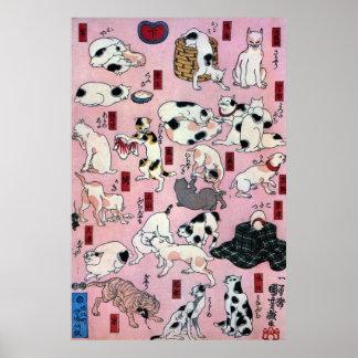 ) del 下 del (del 其のまま地口猫飼好五十三疋, gatos del 国芳 (3),  póster