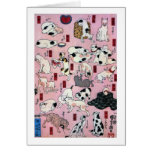 ) del 下 del (del 其のまま地口猫飼好五十三疋, gatos del 国芳 (3), tarjeta de felicitación