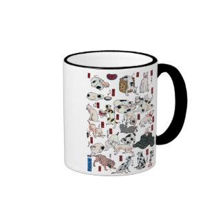 ) del 下 del (del 其のまま地口猫飼好五十三疋, gatos del 国芳 (3),  taza de café