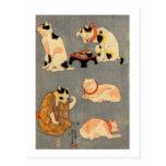 ) del 中 del (del たとえ尽の内, gatos japoneses del 国芳 (2 postales