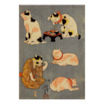 ) del 中 del (del たとえ尽の内, gatos japoneses del 国芳 póster