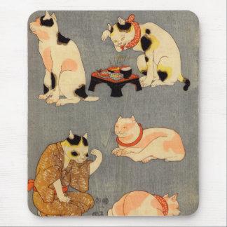 ) del 中 del (del たとえ尽の内, gatos japoneses del 国芳 alfombrilla de ratón