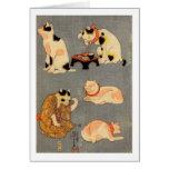 ) del 中 del (del たとえ尽の内, gatos japoneses del 国芳 tarjeta de felicitación
