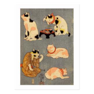 ) del 中 del (del たとえ尽の内, gatos japoneses del 国芳 postal