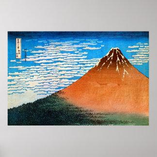 ) del 赤富士 del (del 凱風快晴, 北斎 el monte Fuji rojo, Ho Poster