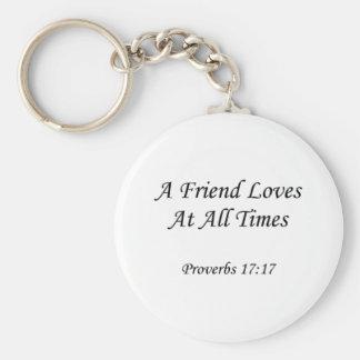 ~ del 17:17 de los proverbios que un amigo ama llavero redondo tipo pin