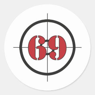 ## del ## 69 pegatina redonda