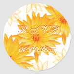 Del amarillo pegatinas del rsvp del boda lilly - etiquetas redondas