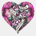 Del amor modelo verdadero de los rosas del pegatina de corazon personalizadas