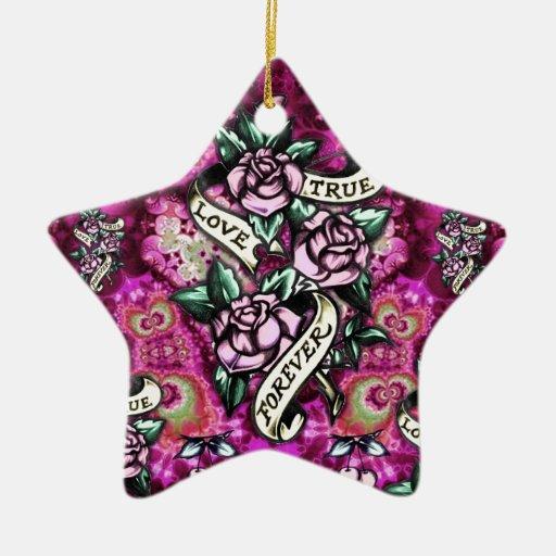 Del amor rosas y banderas psicodélicos verdaderos adornos de navidad