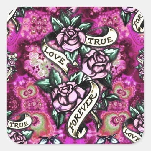 Del amor rosas y banderas psicodélicos verdaderos calcomanias cuadradas