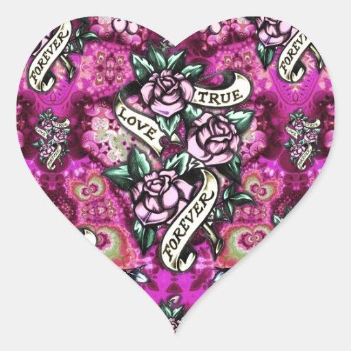 Del amor rosas y banderas psicodélicos verdaderos pegatina en forma de corazón