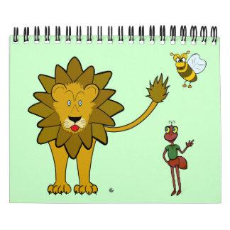 """Del """"animales divertidos arte del dibujo animado"""" calendarios"""