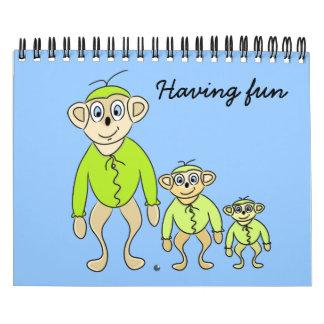 """Del """"animales divertidos arte del dibujo animado"""" calendarios de pared"""