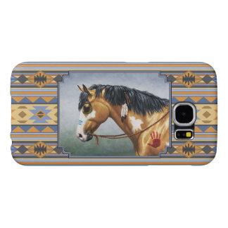 Del ante del Pinto del caballo diseño indio hacia Fundas Samsung Galaxy S6