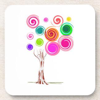 del árbol follaje swirly colorido posavasos de bebida