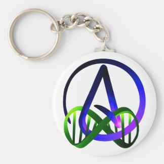 Del ateo púrpura y verde para siempre llavero redondo tipo pin