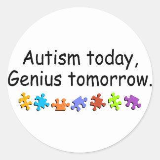 Del autismo genio hoy mañana pegatina redonda