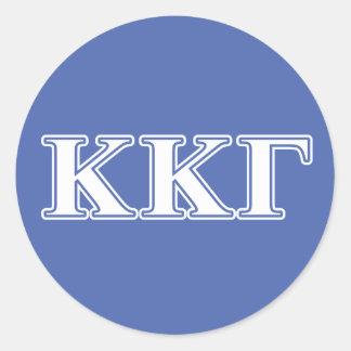 Del azul blanco de Kappa Kappa letras gammas y Pegatina Redonda