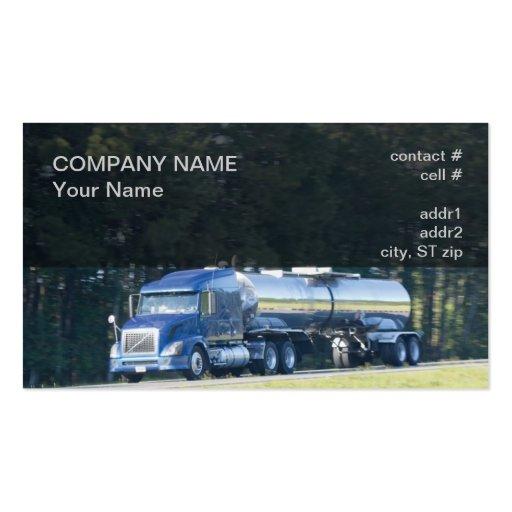 del azul camión y el tanque semi plantilla de tarjeta de visita