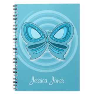 Del azul cuaderno butterflly