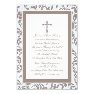Del bautizo azul y Brown Paisley suavemente Invitación 12,7 X 17,8 Cm