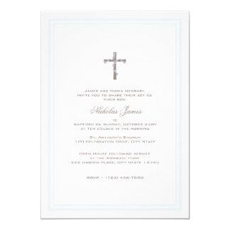 """Del bautizo azul y Brown suavemente Invitación 5"""" X 7"""""""