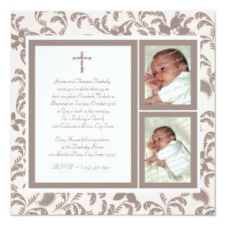 Del bautizo rosa suavemente y foto de Brown Invitación Personalizada