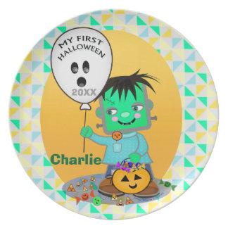 Del bebé primera Halloween placa de Frankenstien Plato Para Fiesta