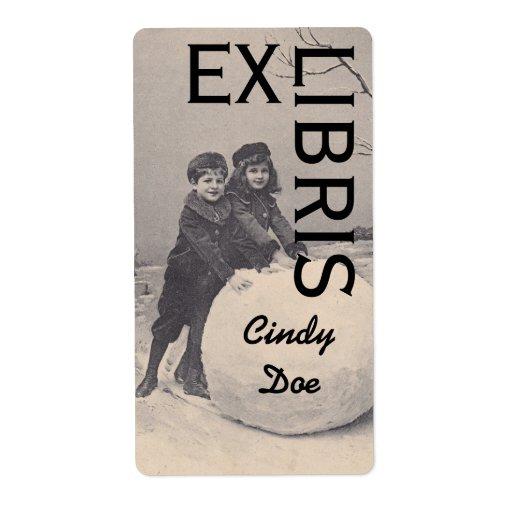 Del Bookplate del Victorian del libro EX LIBRIS Etiquetas De Envío