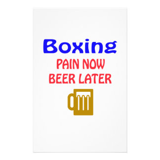 Del boxeo del dolor cerveza ahora más adelante papelería de diseño