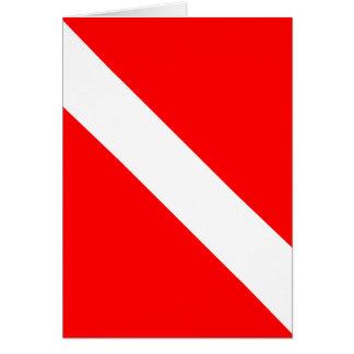Del buceador bandera clásica abajo tarjeta de felicitación
