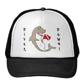 Del buceador tiburón gordo abajo gorra